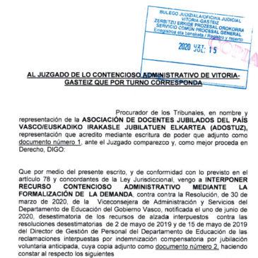 Interposición Recurso Contencioso Administrativo 15/07/2020